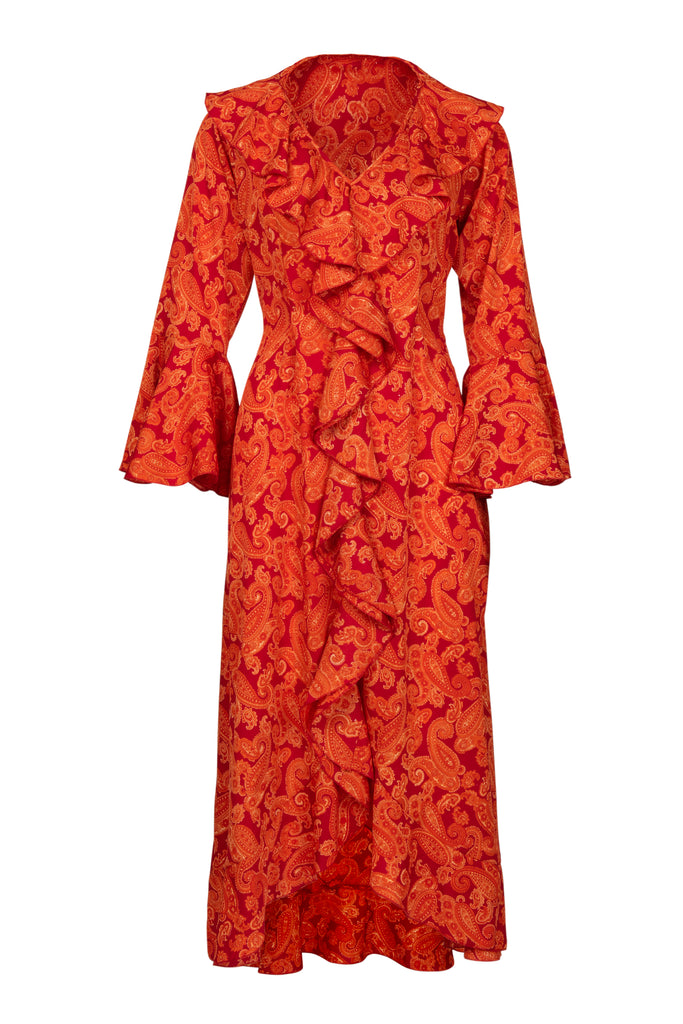 Felicity Dress - Orange Paisley