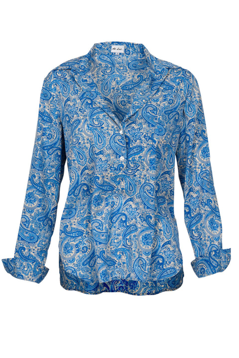 Soho Shirt with Back Detail - Blue Paisley
