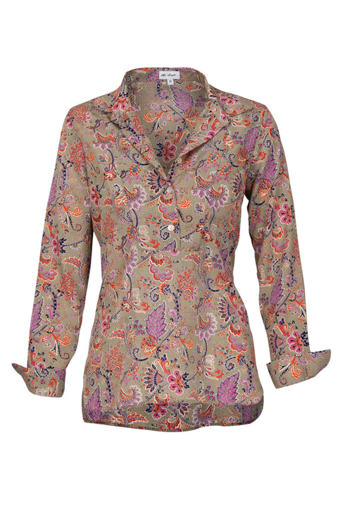 Soho Shirt with Back Detail - Taupe Multi