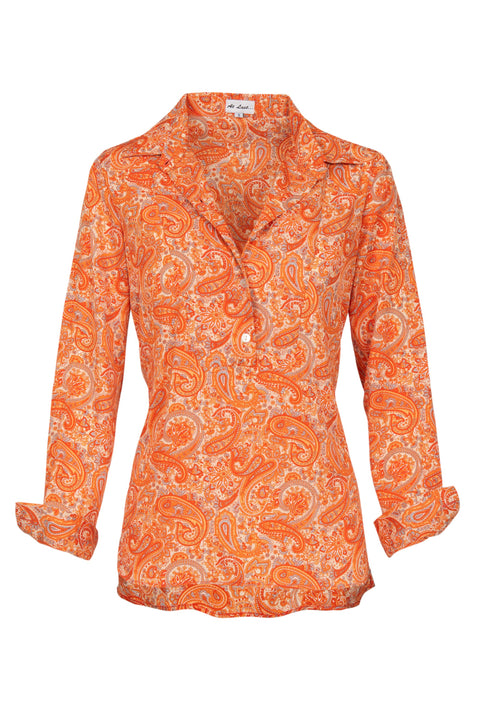 Soho Shirt with Back Detail - Orange Paisley