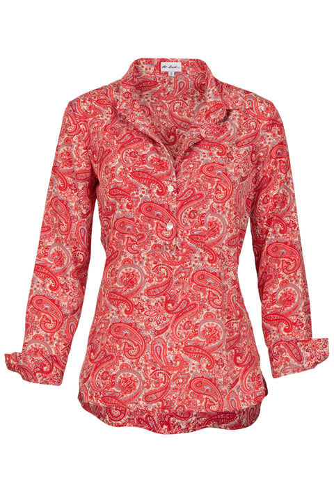 Soho Shirt with Back Detail - Coral Paisley