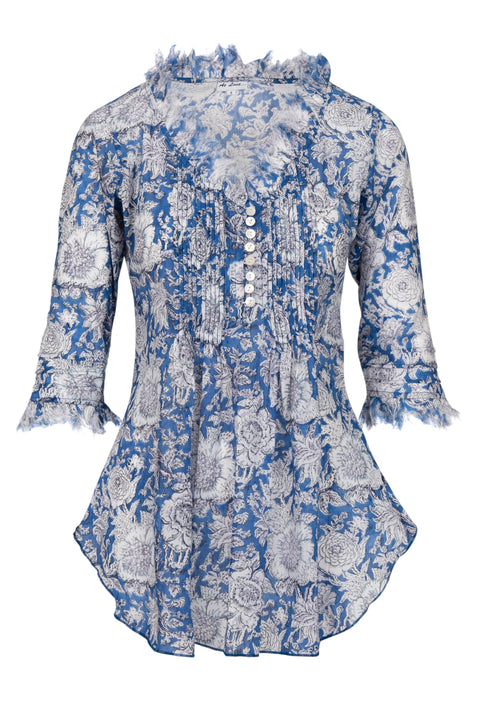 Sophie Cotton shirt - Blue and White Flower