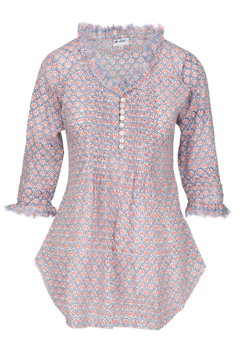 Sophie Cotton shirt - Orange Pattern