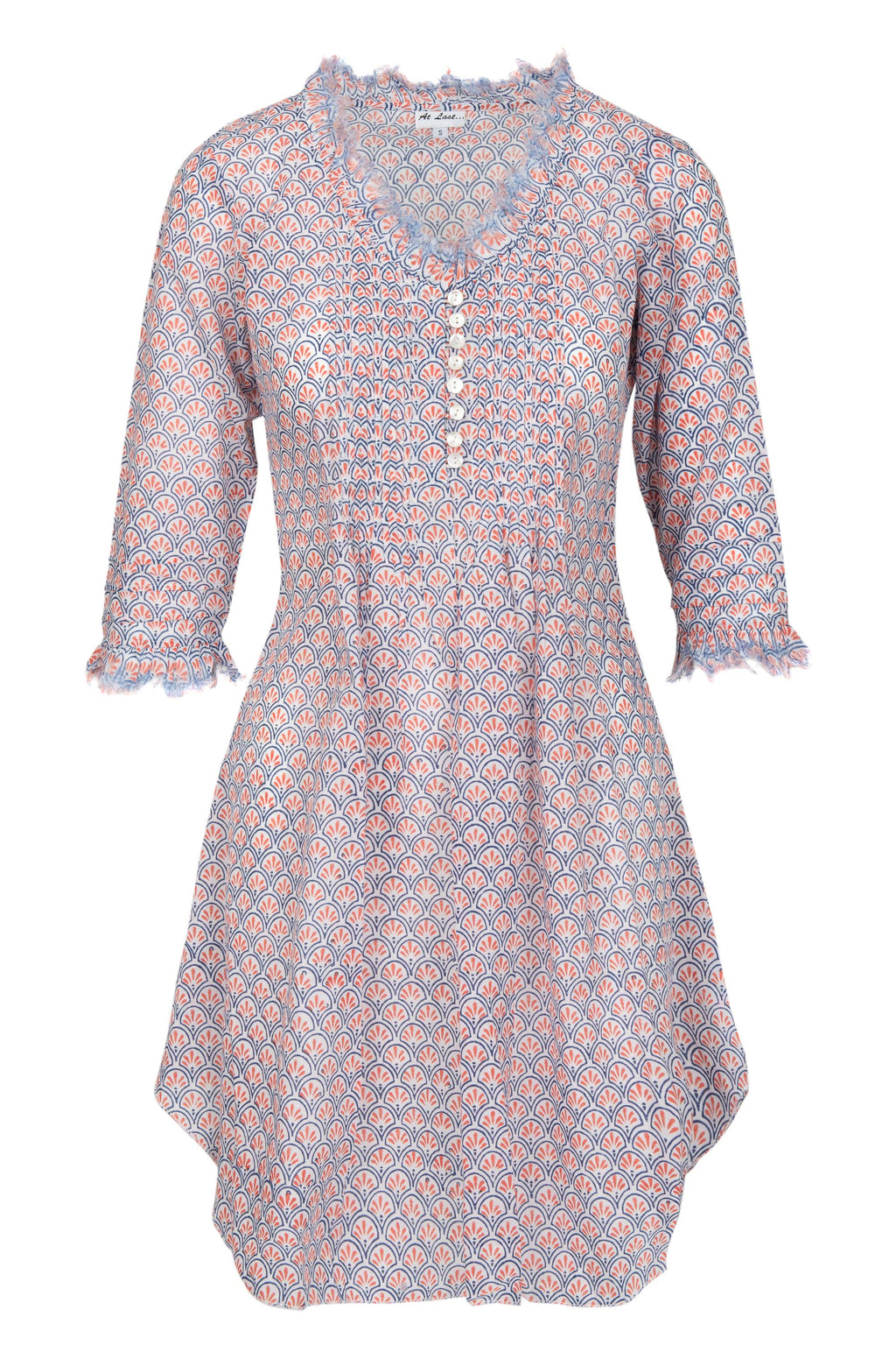Annabel Cotton Tunic - Orange Pattern