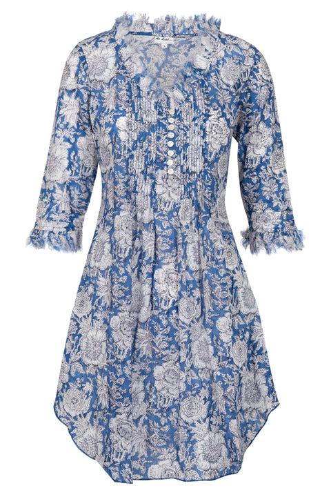 Annabel Cotton Tunic - Navy and White Flower