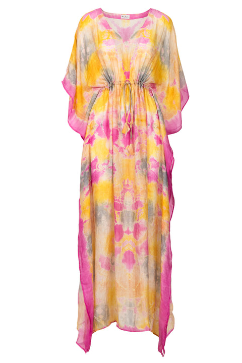 Bella Silk kaftan - Dip dye Yellow and Pink