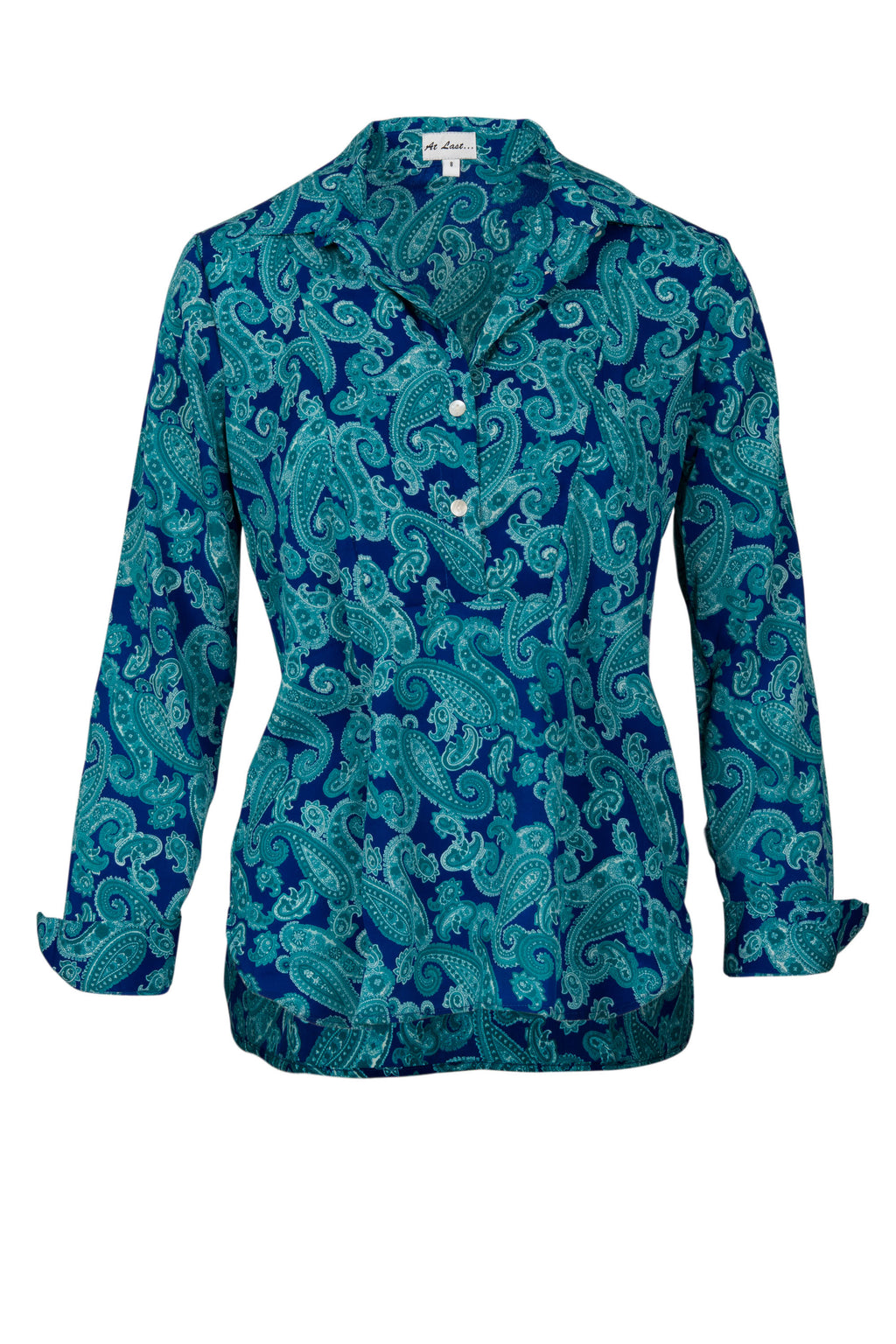 Soho Shirt with Back Detail - Turquoise and Royal