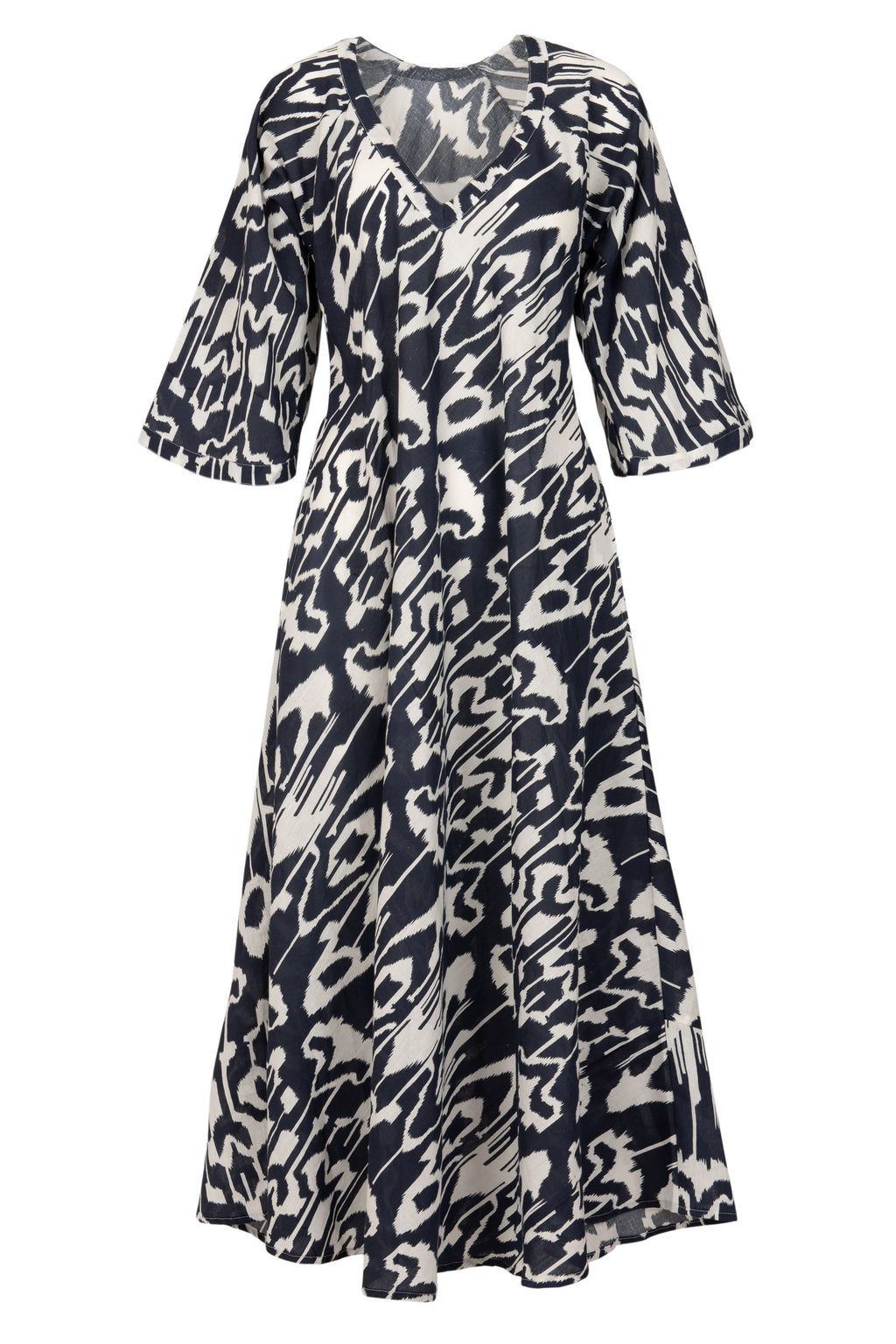 Anna Cotton Dress- Navy and White