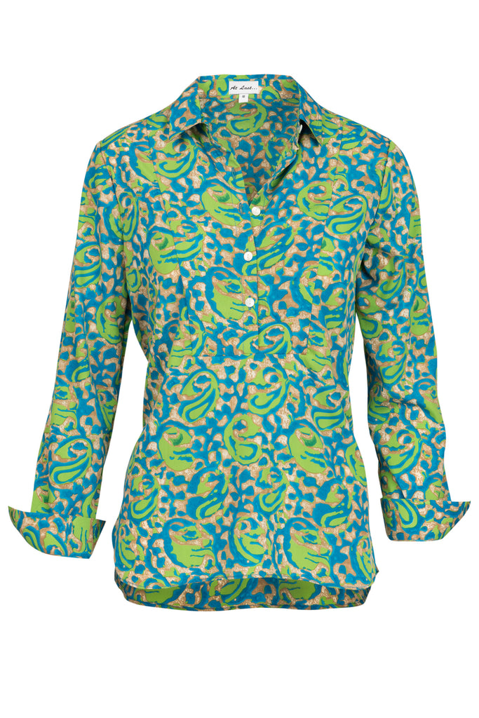 Soho Shirt with Back Detail - Turquoise and Lime