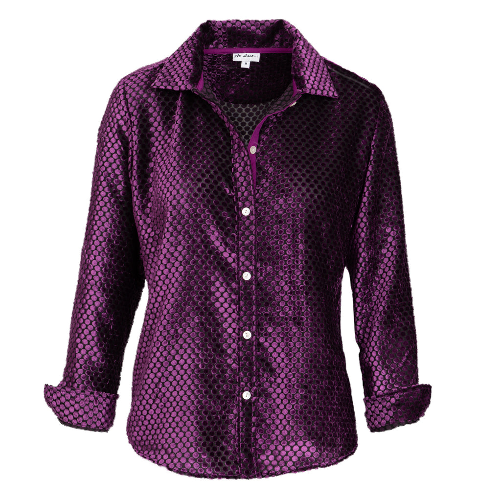 Karen Silk Velvet Shirt - Purple Spot