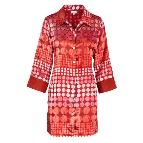 Amanda Silk Velvet Shirt - Red Boho Spot
