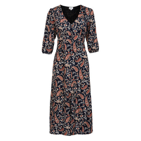 Belgravia Dress - Navy Paisley