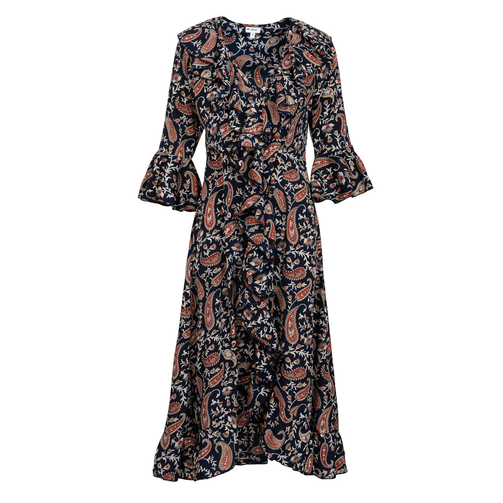 Felicity Dress - Navy Paisley