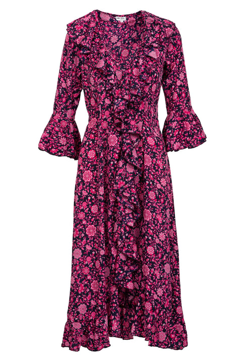 Felicity Dress - Navy and Pink Flower