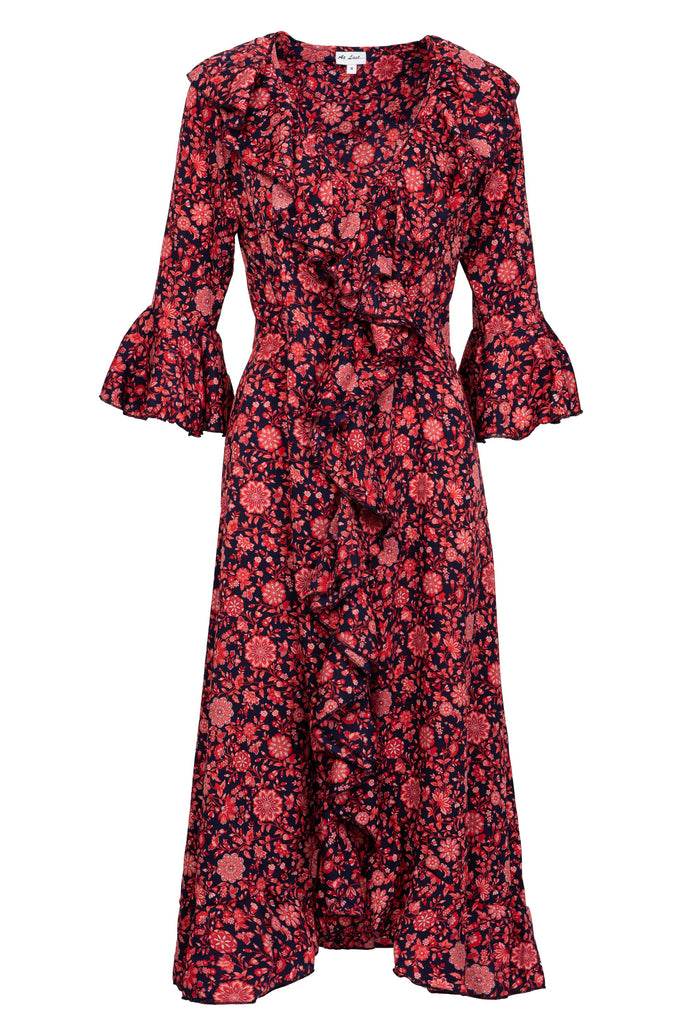 Felicity Dress - Navy and Red Flower