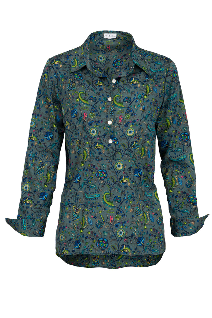 Soho Shirt with Back Detail - Green Multi