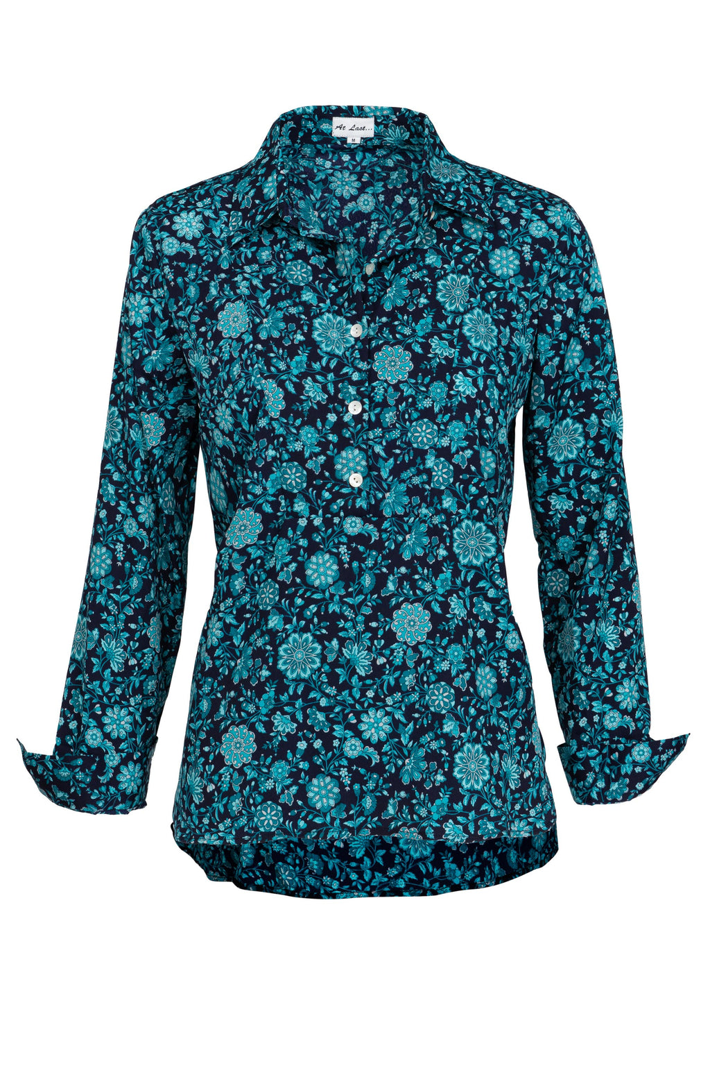 Soho Shirt with Back Detail - Turquoise Flower