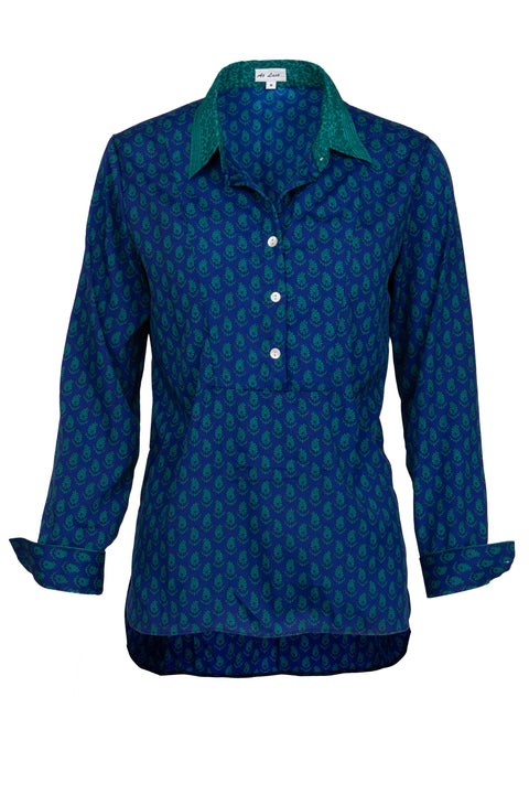 Soho Shirt with Back Detail - Royal with Green Collar and Cuff