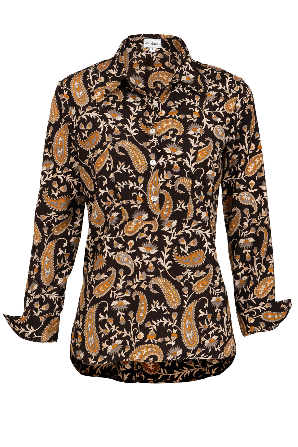 Soho Shirt with Back Detail- Black Paisley