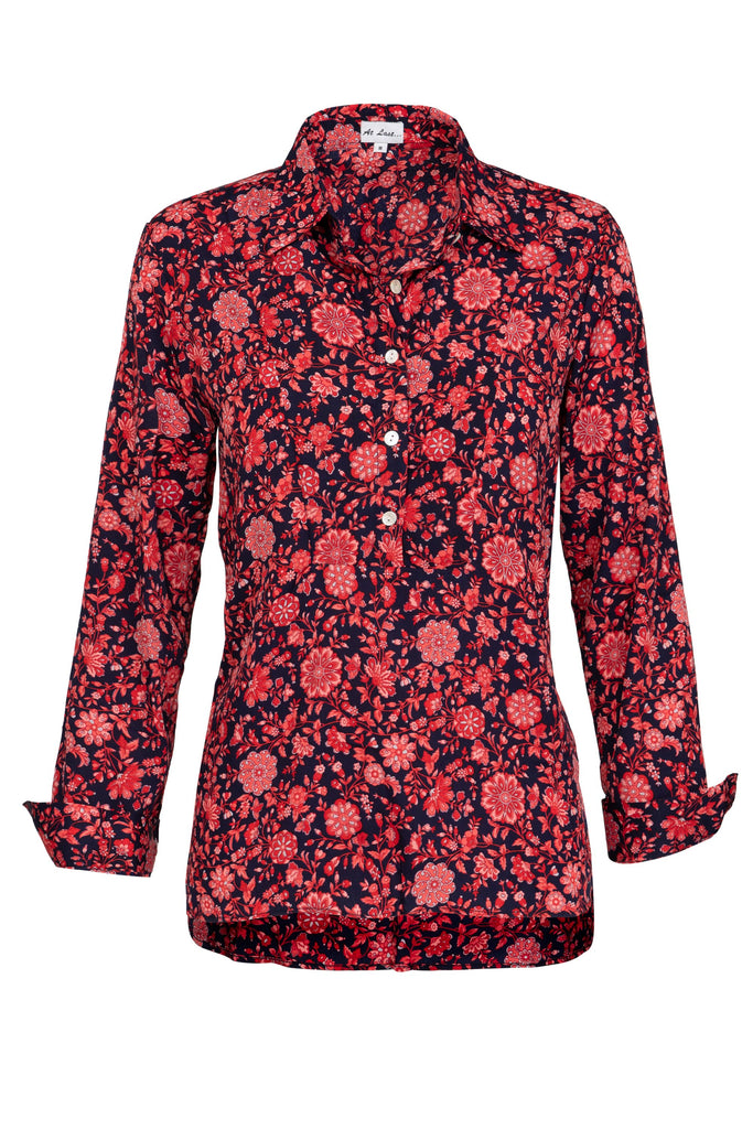Soho Shirt with Back Detail- Red Flower