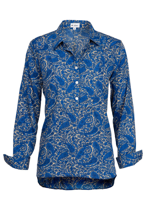 Soho Shirt with Back Detail- Cobalt Paisley