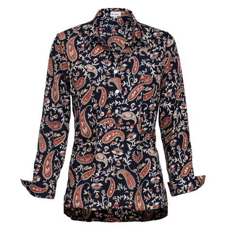 Soho Shirt with Back Detail - Navy Paisley