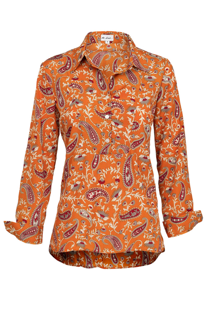 Soho Shirt with Back Detail- Ochre Paisley