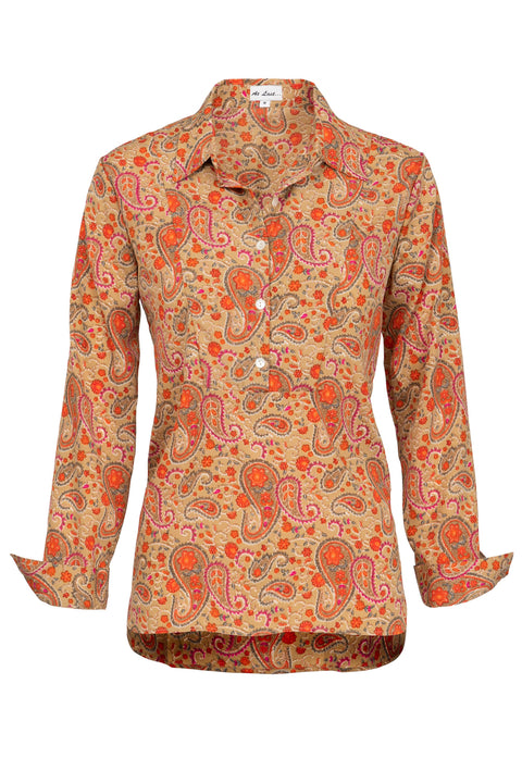 Soho Shirt with Back Detail- Orange Paisley