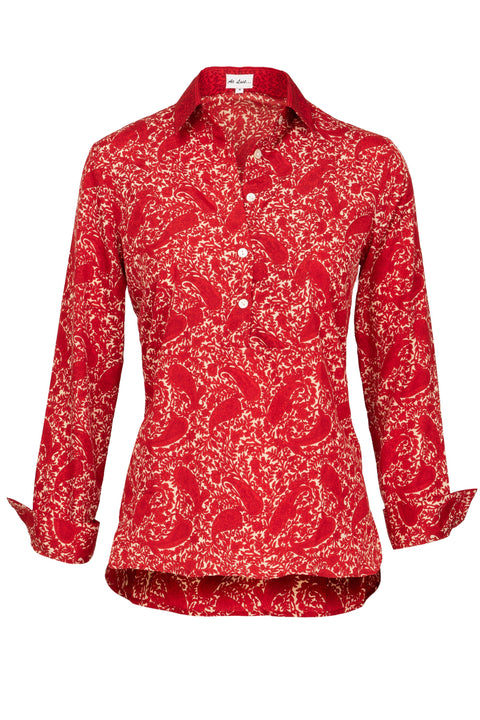 Soho Shirt with Back Detail - Red Paisley with Collar Detail