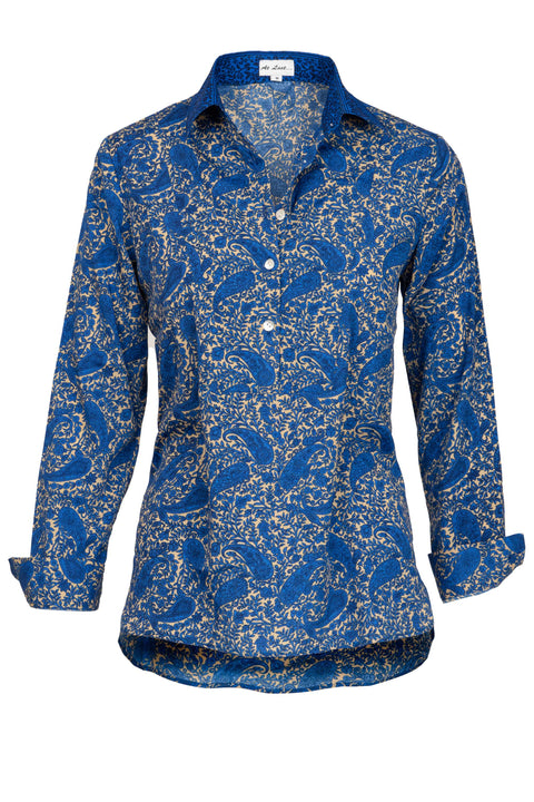 Soho Shirt with Back Detail - Blue Paisley with Collar Detail