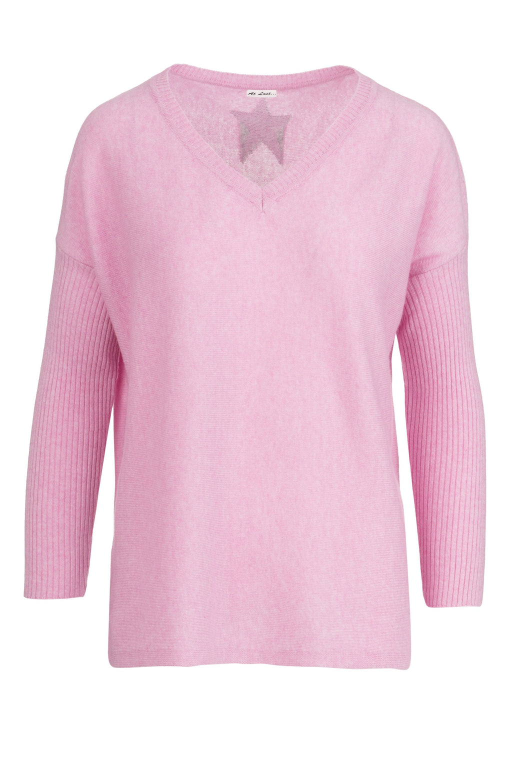 Cashmere Sweater- Pink with Back Star
