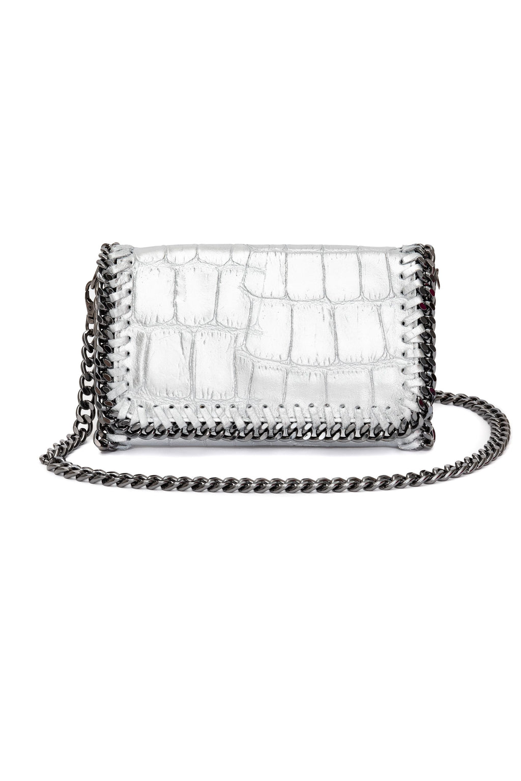 Silver Clutch Cross Body Bag