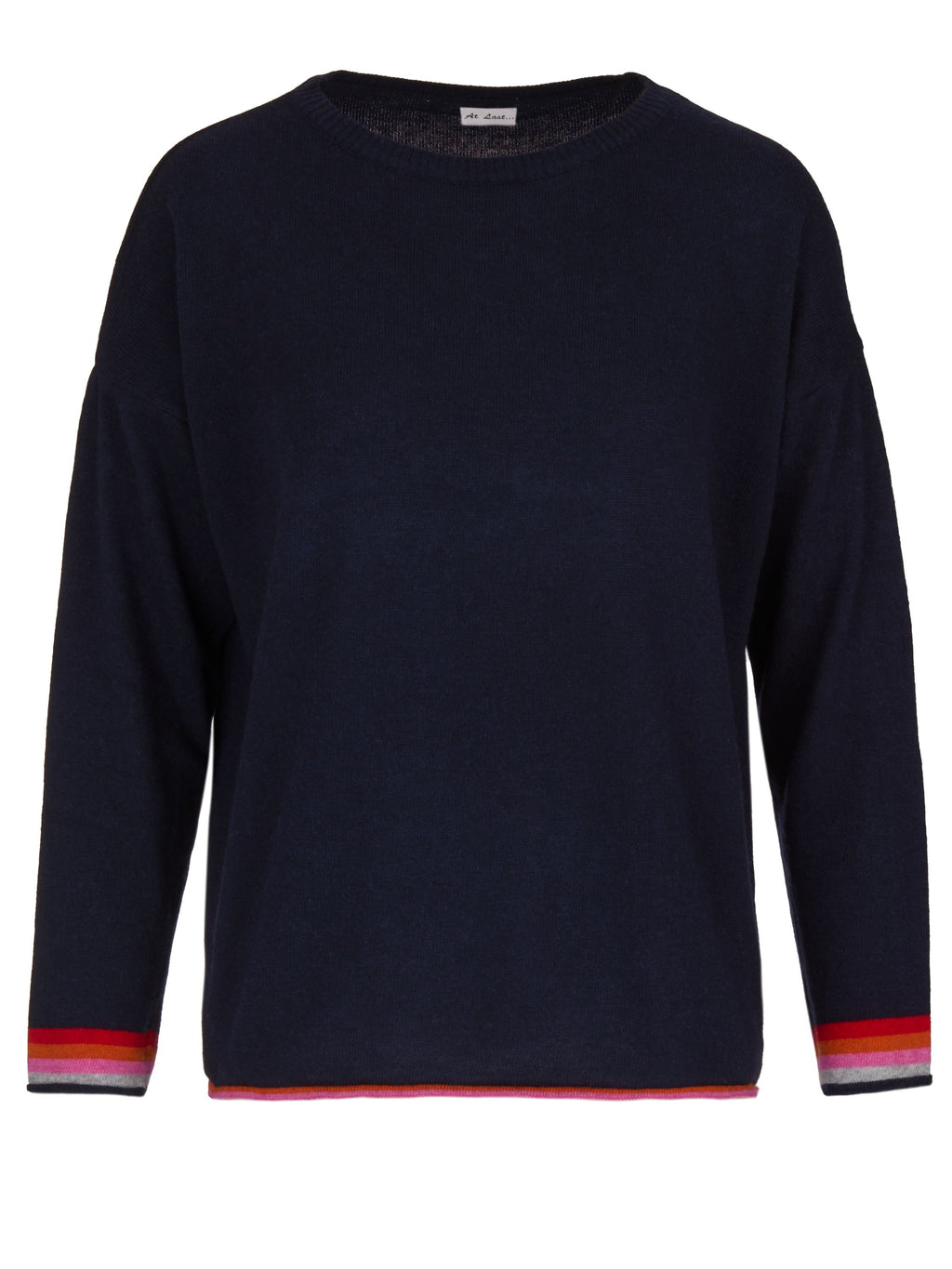Cashmere Sweater- Navy and Pink Elbow