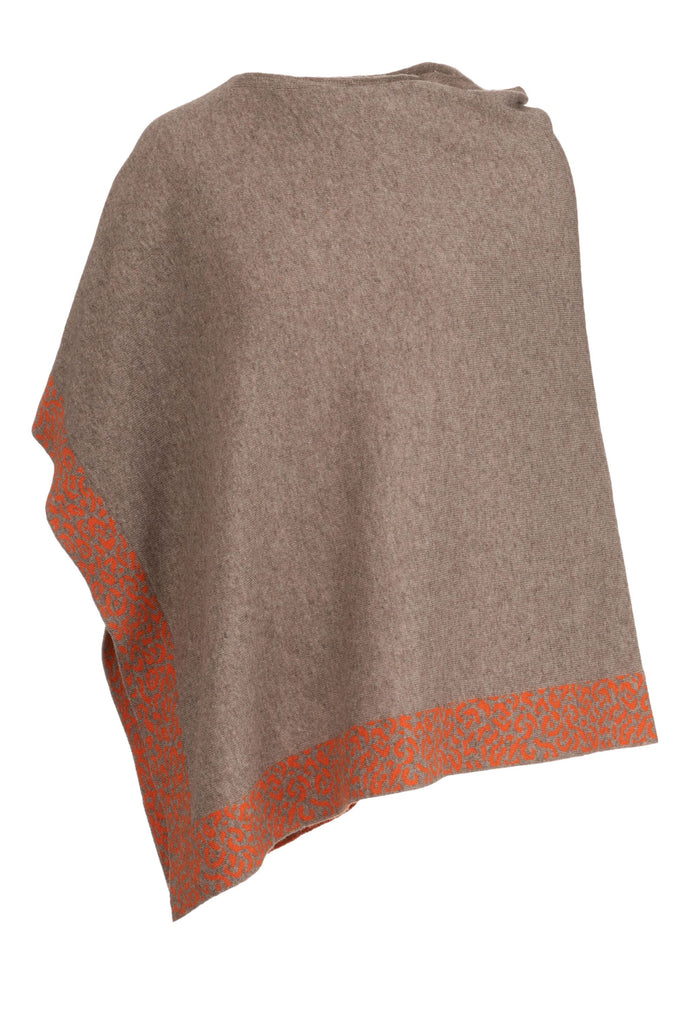 Cashmere Poncho- Sand and Orange Leopard Trim
