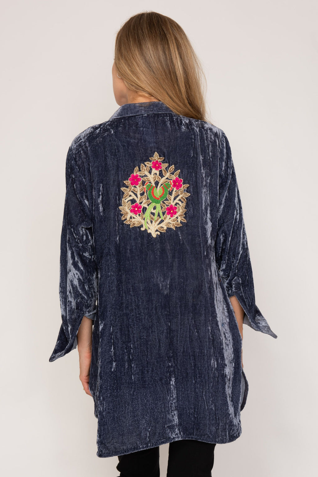 Louise Silk Velvet Shirt with back tattoo - Grey