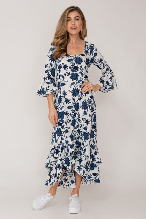 Victoria Dress Blue and White Flower