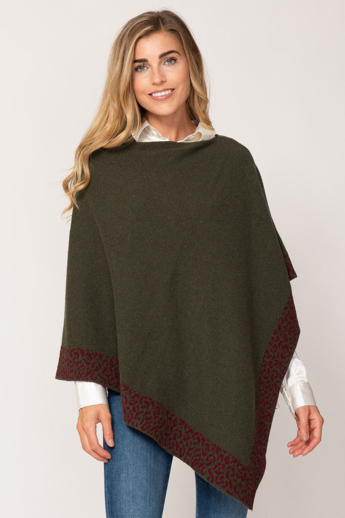 Cashmere Poncho- Olive and Burgundy Leopard Trim