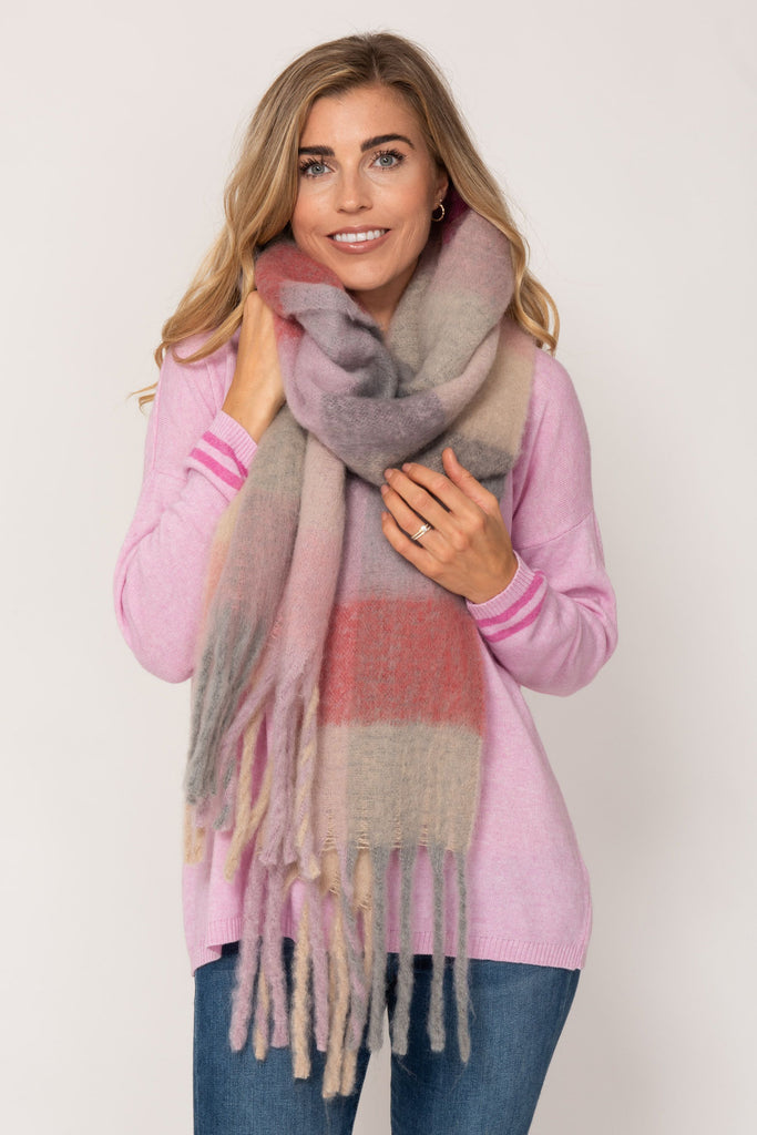 Super Soft Woven Knit Scarf- Pink Multi