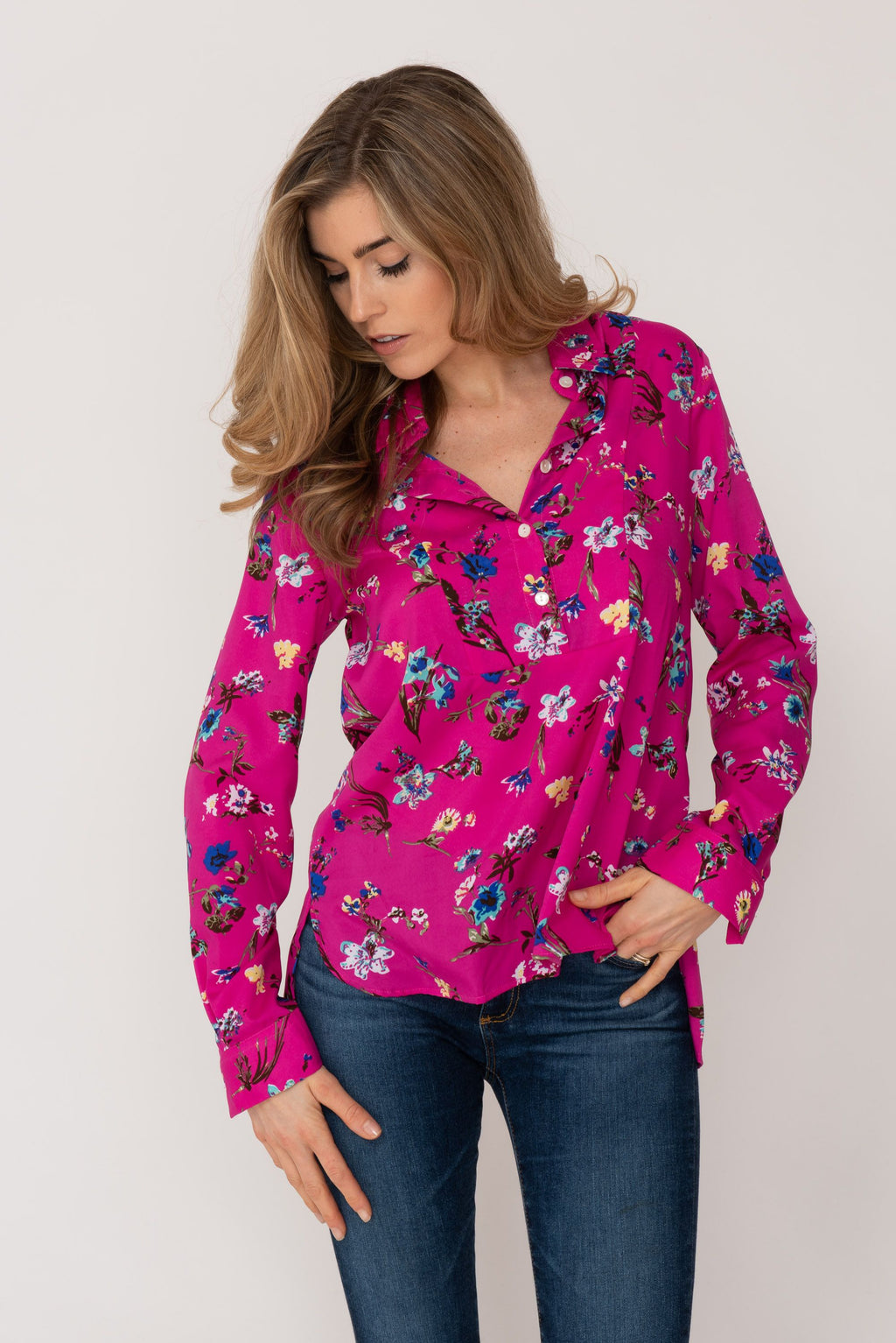 Soho Shirt with Back Detail Hot Pink Flower