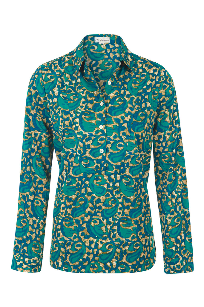 Soho Shirt with Back Detail - Turquoise