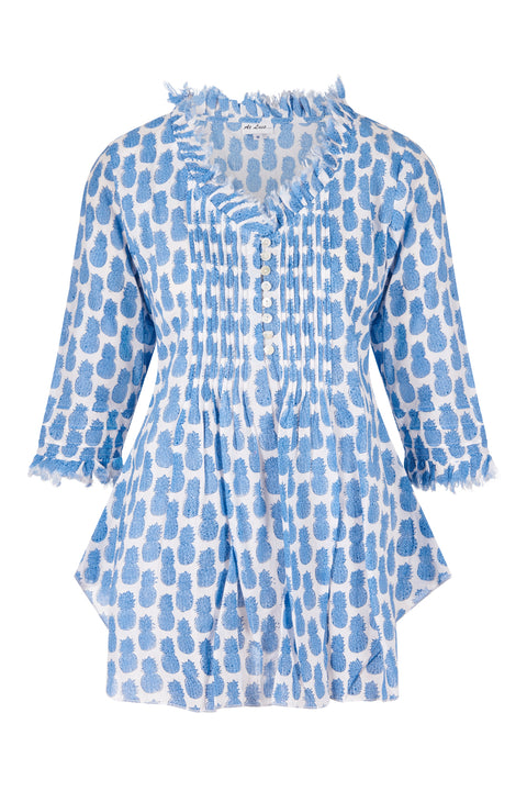 Sophie Cotton shirt - Mini Blue Pineapples