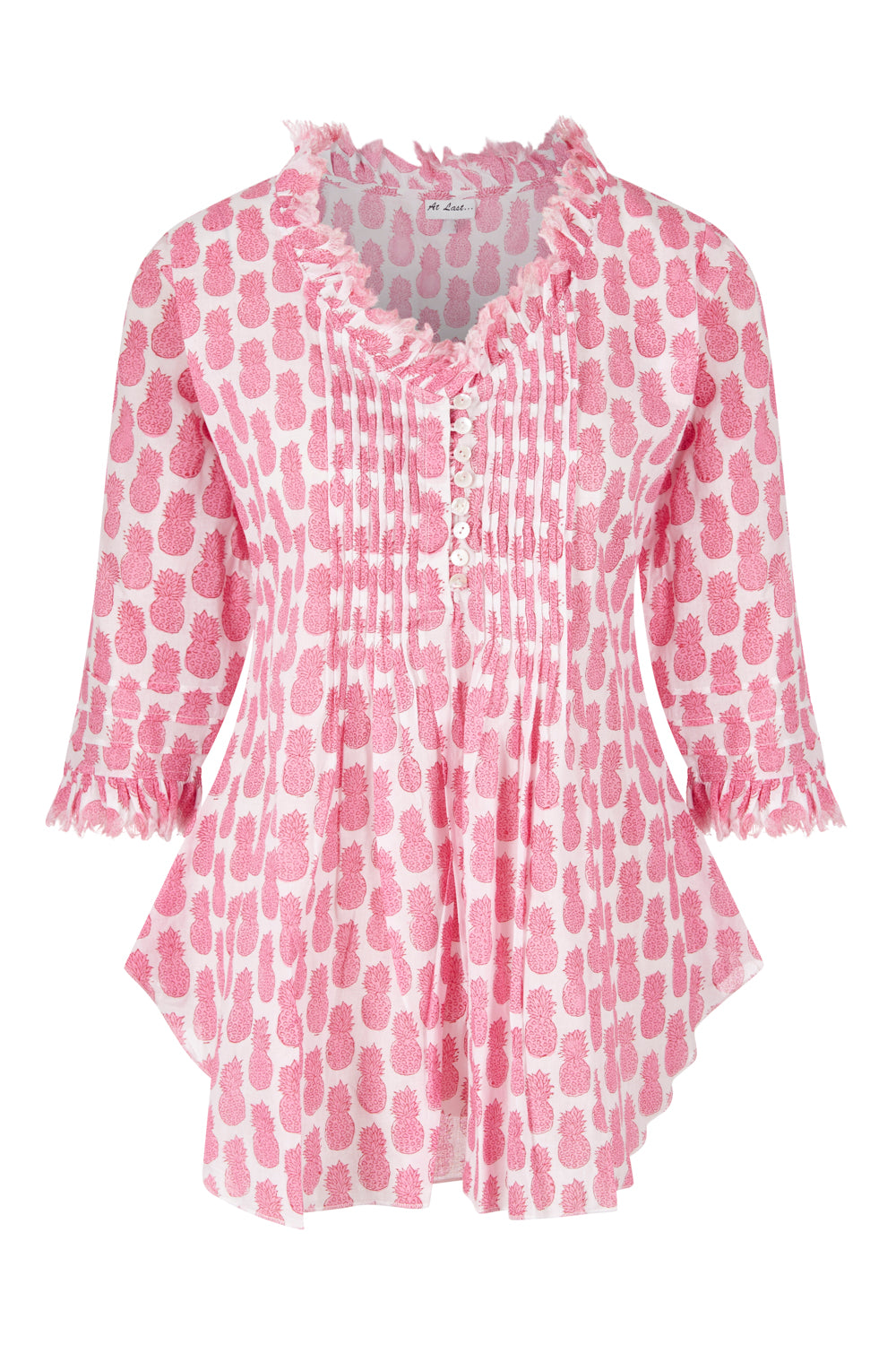 Sophie Cotton shirt - Mini Pink Pineapples