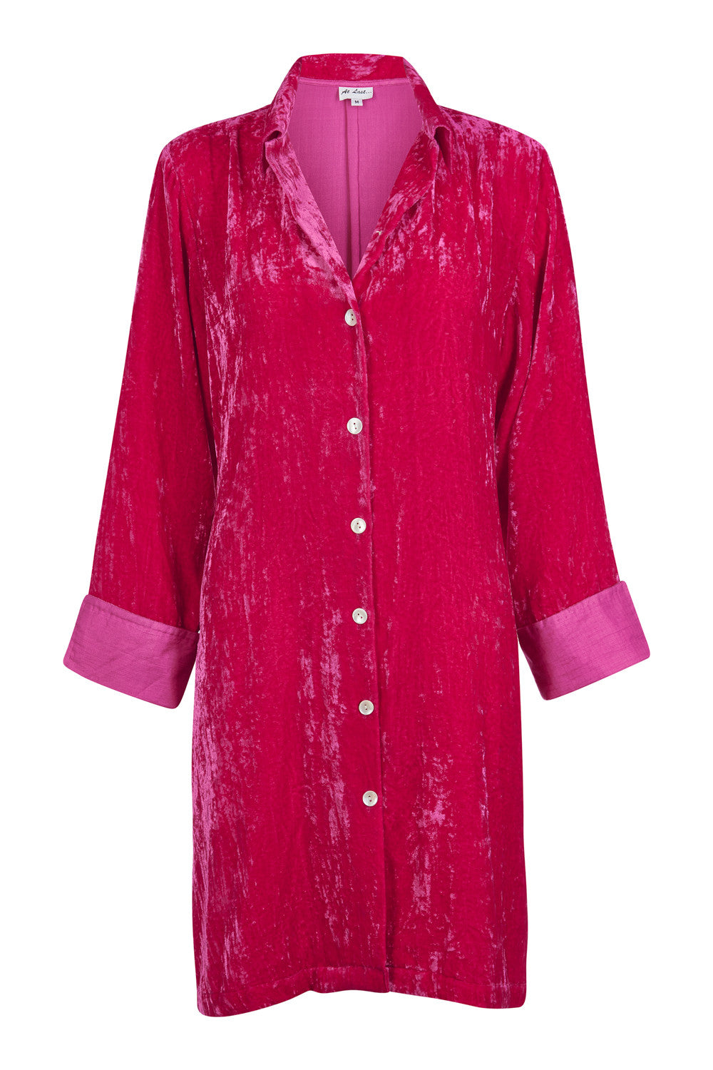 Amanda Silk Velvet Shirt (straight hem) - Hot Pink