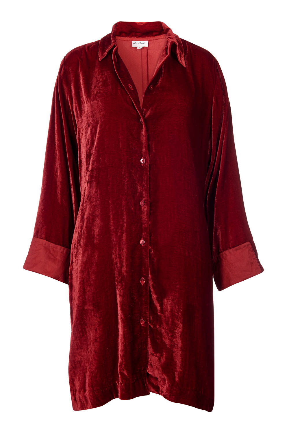 Amanda Silk Velvet Shirt (straight hem) - Red