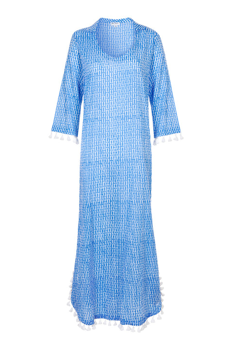 Cillia Cotton kaftan - Blue and White