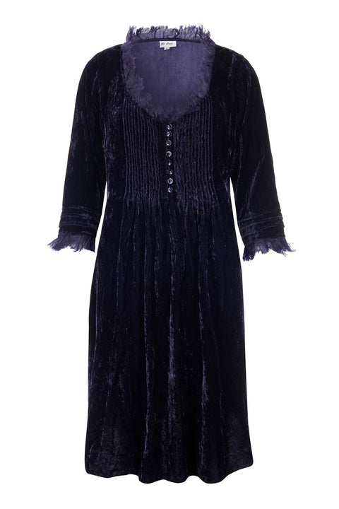 Annabel Frill Silk Velvet Long Tunic \ Dress - Midnight