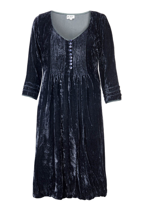 Annabel Silk Velvet Long Tunic \ Dress - Grey