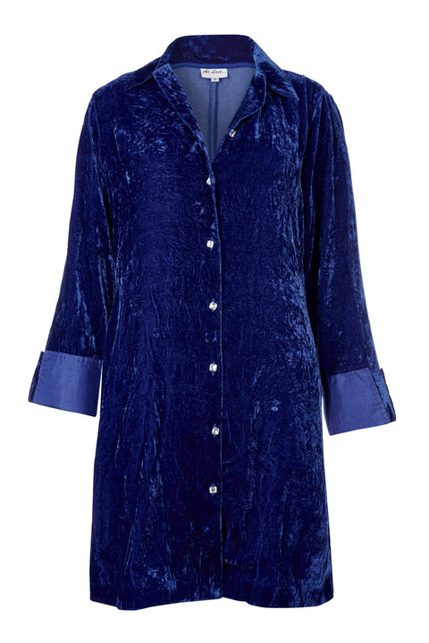 Amanda Silk Velvet Shirt (straight hem) - Royal Blue