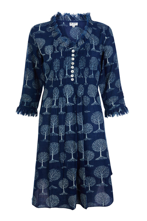 Annabel Cotton Tunic - Navy and White Tree Of Life