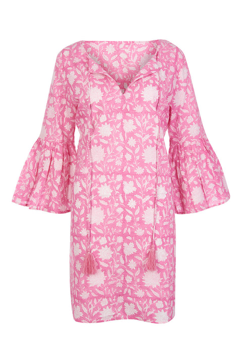 Belle Tassel Cotton dress- Floral Pink